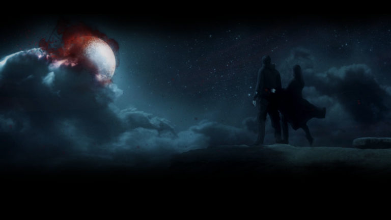 short film blood rush vampires on a cliff looking at moon