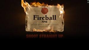 fireball no6 spiced liqueur commercial flaming logo
