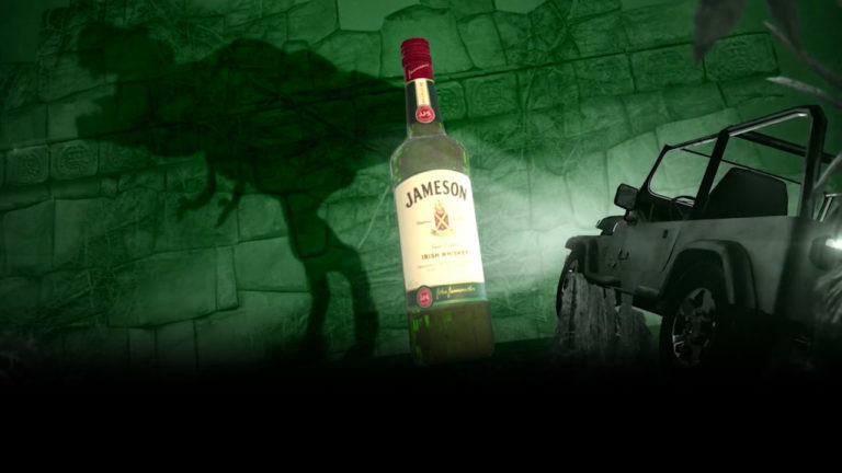jameson irish whiskey movie night commercial t-rex and jeep