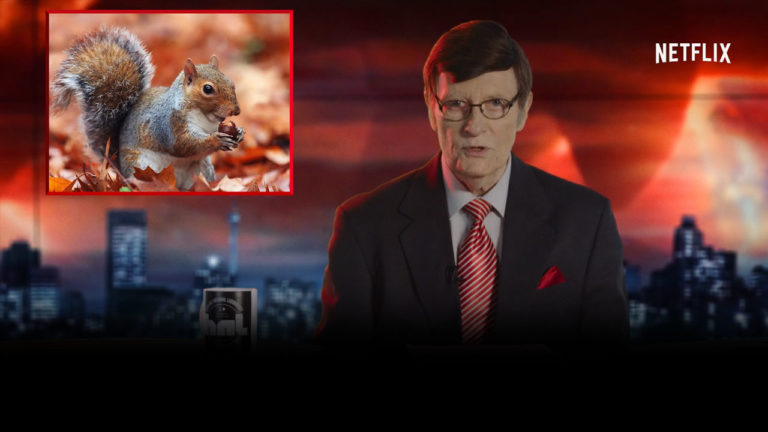 mysteries at eleven netflix commercial riaan cruywagen news presenter and squirrel