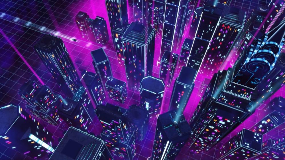 Volkswagen neon futuristic cityscape